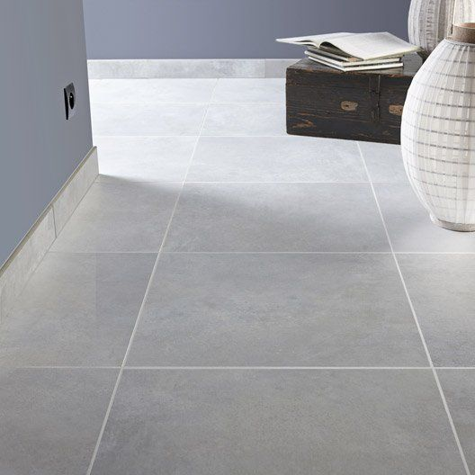 Carrelage int rieur live premium en gr s gris brume 48 7 for Carrelage gris clair brillant