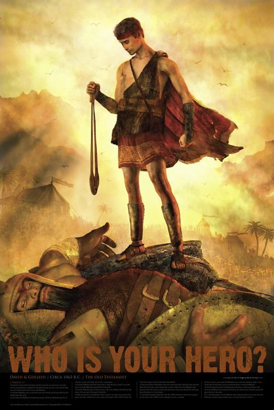 The shepherd boy, David, slew the giant, Goliath with a rock thrown from a sling.  He later became a great king of Israel