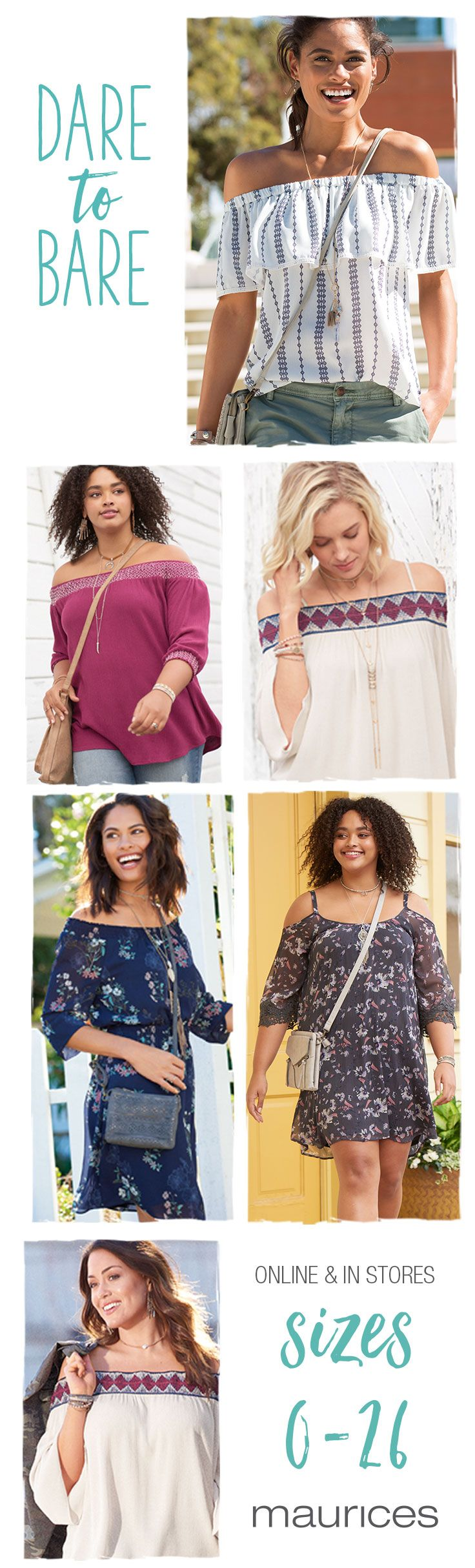 Give your shoulders a reason to shimmy with off-the-shoulder tops in sizes 0-26. Plus, say hello to FREE shipping when you pick up in store or on orders $50 or more and FREE returns to any one of our 1,000 stores.