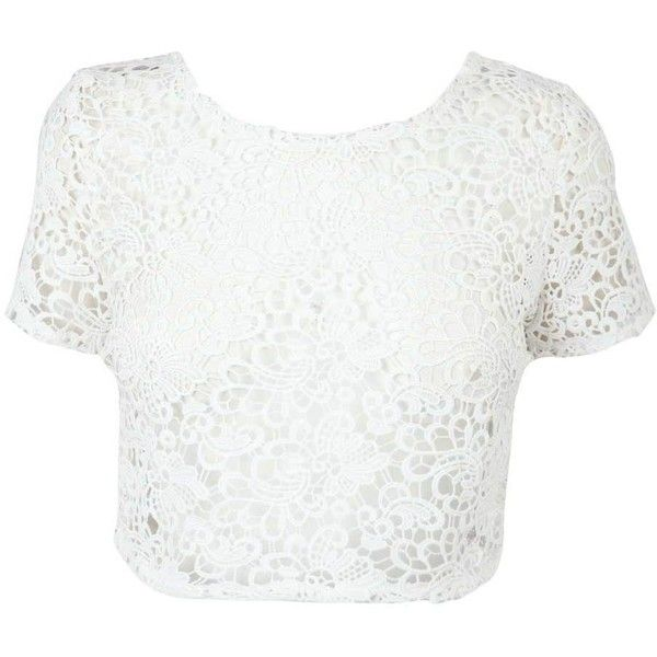 Cream Lace Crop Top ($16) ❤ liked on Polyvore featuring tops, crop tops, shirts, blusas, lace shirt, short-sleeve shirt, white lace top, crop shirt and short sleeve shirts