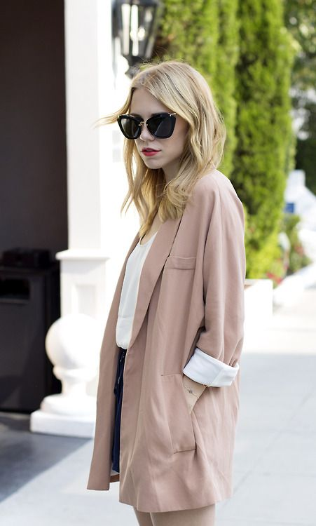 Oversized nude blazer...coral lips and love the shades