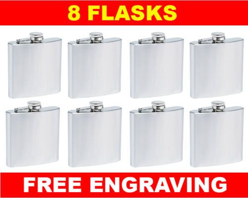 lot of 8 personalized hip flasks free engraving custom personalization 6 oz  hip flask best man usher gift