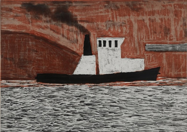 Red Car Carrier, Port Kembla, 2008  Artist: Julian Twigg  Medium: Colour etching  Dimensions: 27 x 38 cm  Edition: 20