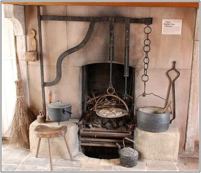 A traditional fireplace