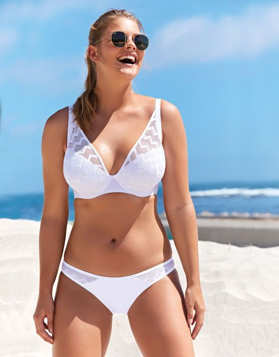 a79114c527 Hi Voltage Plunge Bikini Top in White by Curvy Kate Swim | Bravissimo
