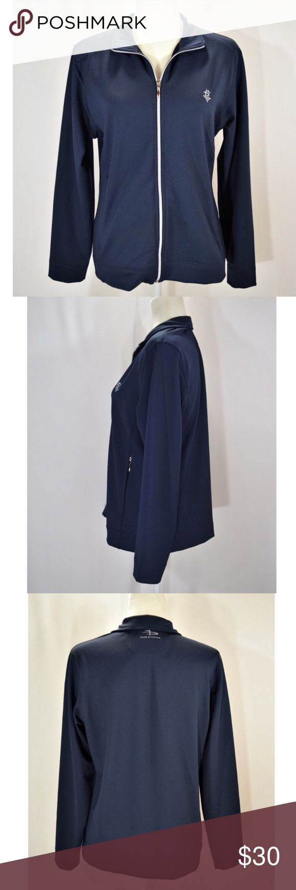 """Women's navy blue Page & Tuttle golf jacket Page and Tuttle golf jacket🔹Navy blue🔹Size medium🔹92% polyester, 8% spandex🔹Two front zip pockets🔹Approx measurements:  armpit to armpit is 20.5"""" and top of shoulder to bottom hem is 24.5""""🔹Excellent condition🔹Smoke and pet free home Page & Tuttle Jackets & Coats"""