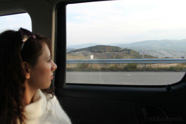 viaggiatrice solitaria guarda il paesaggio