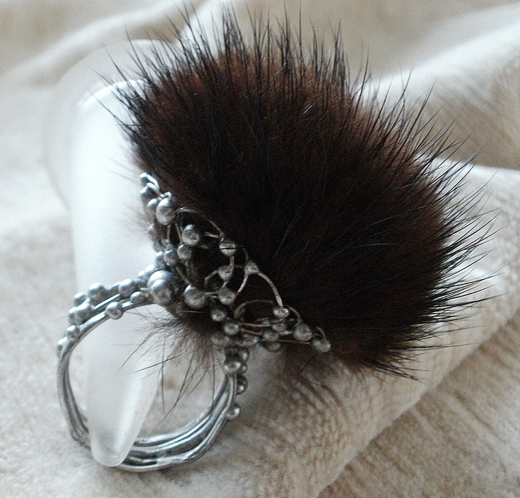 ring made entirely by hand, with granulation and a pom pom of mink fur; Pimaripi Bijoux