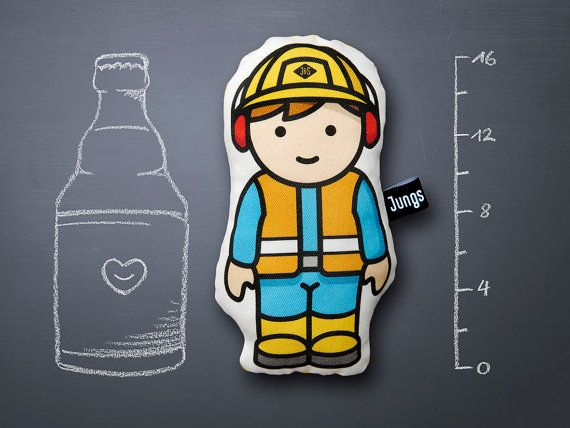 construction worker soft stuffed toy handmade by JungsundSoehne