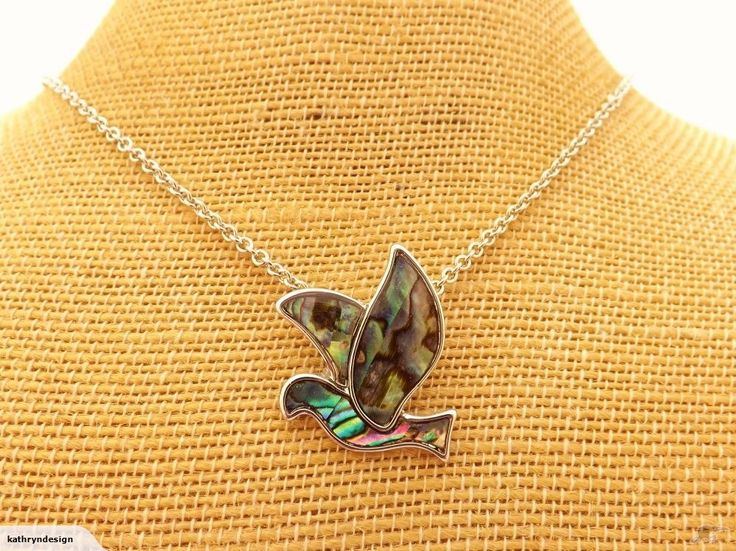 Paua Flying Bird Pendant on Chain   Trade Me