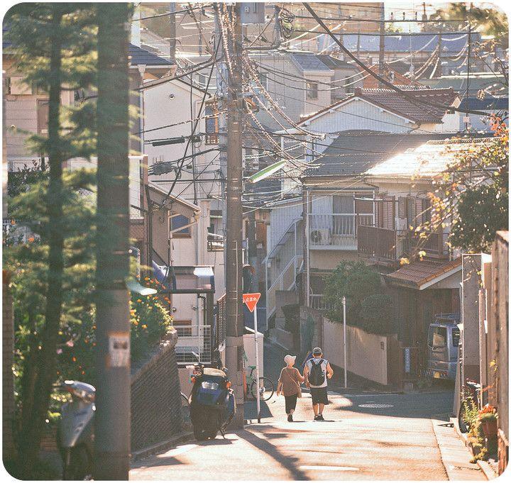 行走在日本 배경/길거리/낮/분위기/빛/전봇대/일본