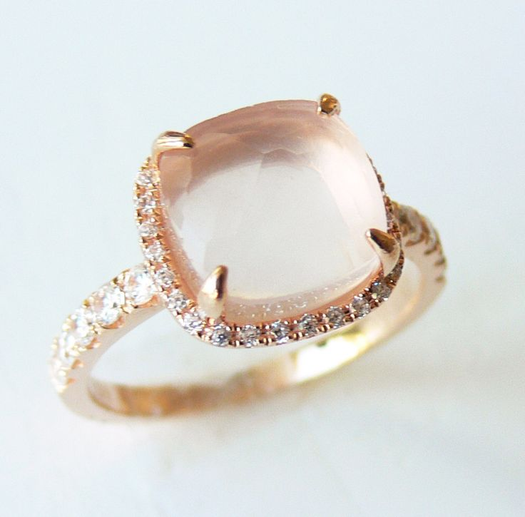 Rose Quartz Faceted Cushion Cut 9mm,18K Rose Gold Vermeil Ring - Made to Order. $110.00, via Etsy.