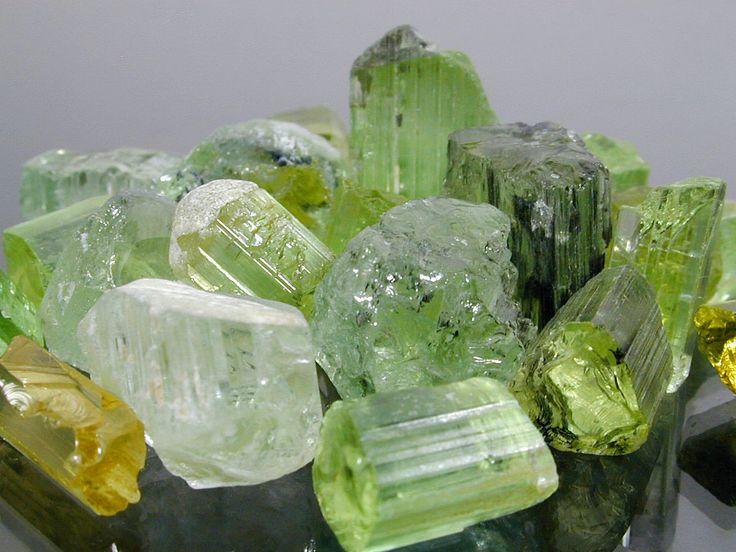 Shades of green tourmaline