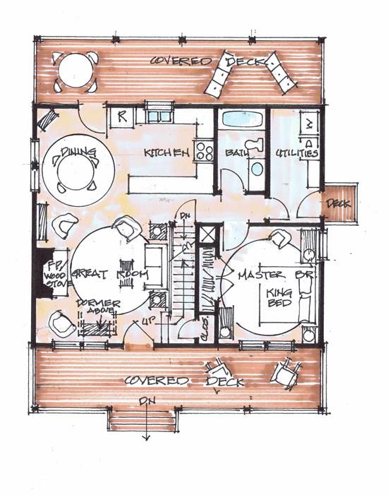2 Bedrooms                           2 Bathrooms                                       994 SF Main Level                           702 SF Upper Level                                       1,696 SF Heated