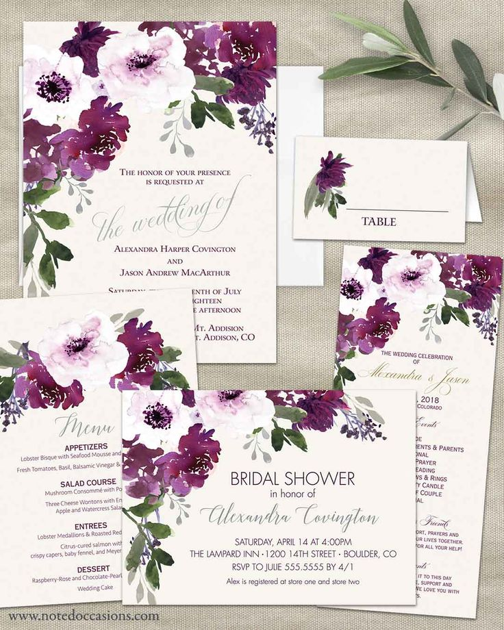 Burgundy Plum Floral Watercolor Wedding Invitations. In the event that you have planned a bohemian chic wedding, this wedding invitation set features watercolor hand drawn florals in tones of purple, burgundy and plum. This floral invitation has sprigs of greenery and silver florals to add to the cascading gorgeousness overall. This elegantly appointed Burgundy Plum Floral Watercolor Wedding Invitations dance with a theme of romance and spirited fun. And yet, rustic chic is its middle name.