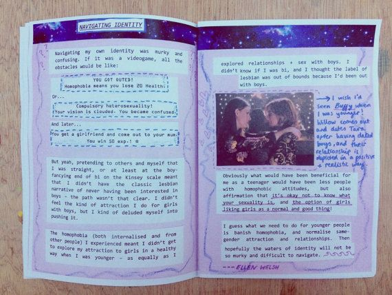 This is the first issue of SAPPHIC - a zine by and for lesbian, bisexual, pansexual and queer women. SAPPHIC aims to emphasise solidarity between these groups by collecting writing and art by different WLW on identity, experiences, thoughts, and what it means to be a girl who likes girls.  Topics include: navigating identity // butch and femme sides // being misgendered // the word queer // being bisexual in an opposite-gender relationship // ...
