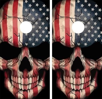 Cornhole Bag Toss 79791: Skull American Flag Cornhole Wraps Laminated Decal Set Decals Vinyl Sticker -> BUY IT NOW ONLY: $49.95 on eBay!