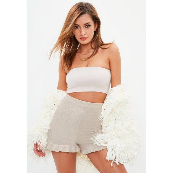 Missguided Beige High Waisted Frill Hem Shorts (27,805 KRW) ❤ liked on Polyvore featuring shorts, grey, grey shorts, high-waisted shorts, stretch shorts, ruffle hem shorts and beige shorts