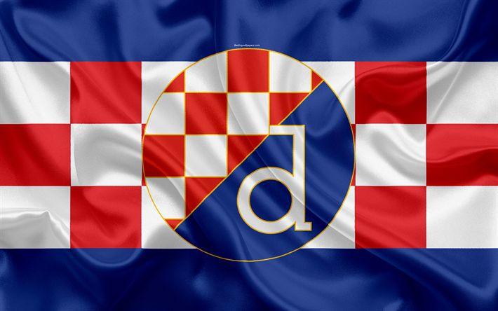 Descargar fondos de pantalla El dínamo de Zagreb FC, 4k, croata de fútbol del club, emblema, logo, futbol americano, bandera, HNL, croata Campeonato de Fútbol, croata Primera Liga de Fútbol, Zagreb, Croacia, GNK Dinamo Zagreb