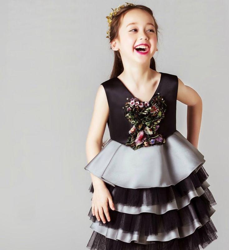 Девчачий Магазин Я Красивый И Элегантный Цветок Аппликация 6 Многоуровневое Платье Девушки – Девчушки Магазине - Вкус Для Девушки!
