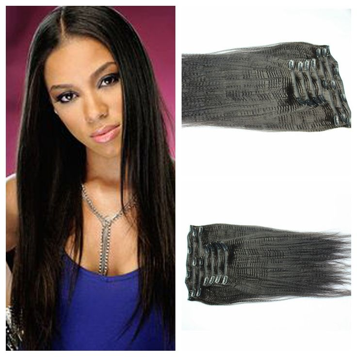 91 best clip in human hair extension images on pinterest wigs new brazilian human hair clip in extensions real hair weaves clip in light yaki straight natural black natural looking pmusecretfo Images