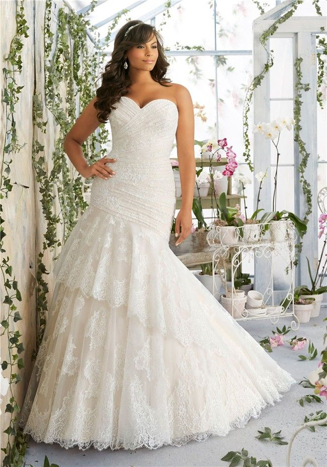 Asymmetrical Trumpet Sweetheart Corset Back Lace Ruched Plus Size Wedding Dress Weddingd Mori Lee Wedding Dress Lace Mermaid Wedding Dress Wedding Dresses Lace
