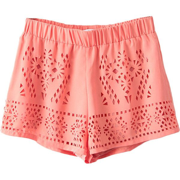 Elastic-waist Hollow-out Chiffon Shorts ($21) ❤ liked on Polyvore
