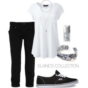 Polyvore Casual Summer Picnic Outfit by ElainesCollection | Black + White | Summer Outfits | Casual Outfits