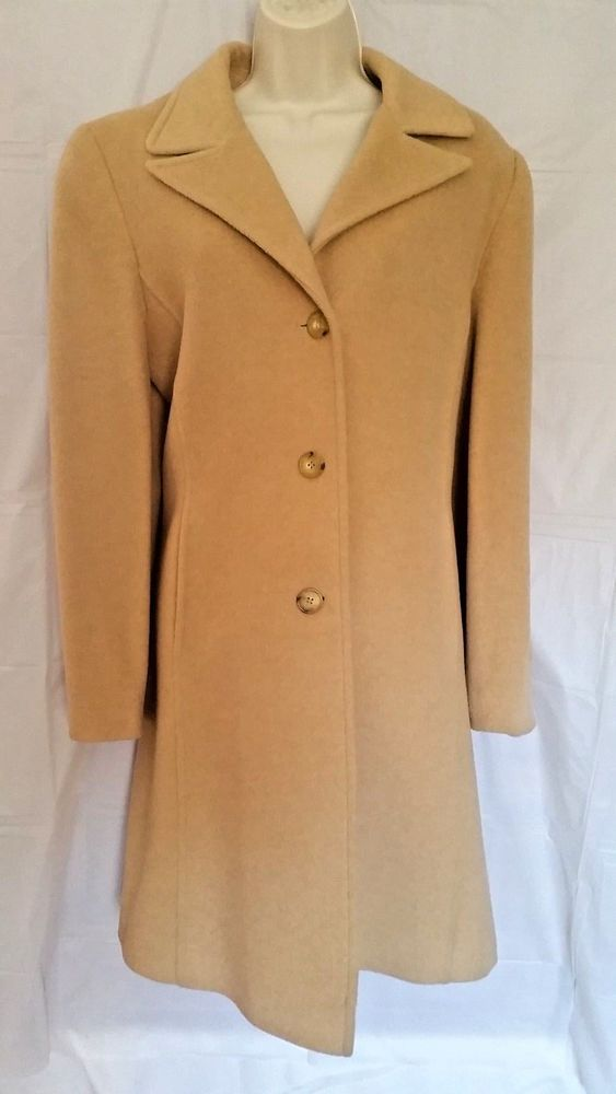 a2e51196f5f Larry Levine Design 100% Pure Camel Hair Lined Coat Women s Size 14   LarryLevine  Peacoat  Formal