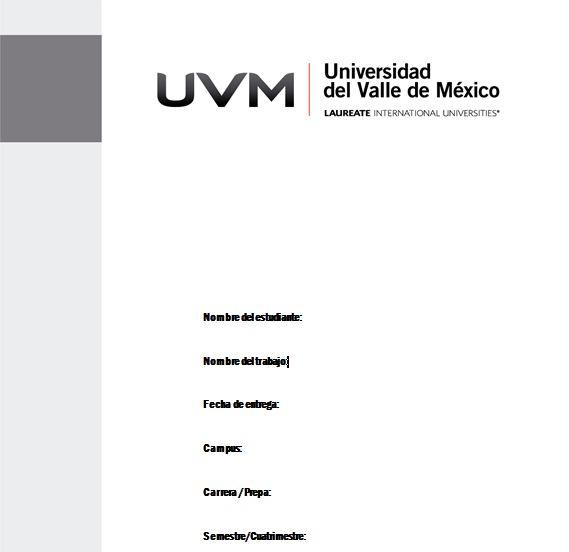 Universidad del Valle de México | Plantilla - Portada de trabajos UVM (a ...