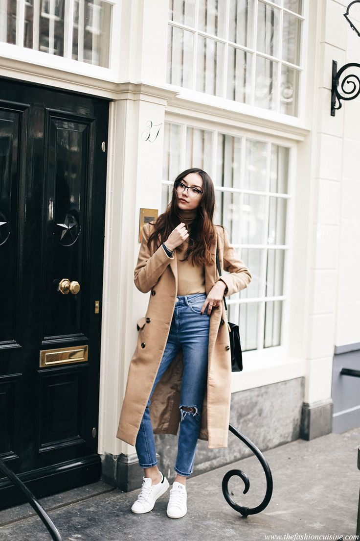 25 Bodysuit Outfit Ideas to Copy | Camel-colored body suit styled with jeans, sneakers, and a matching camel coat | @stylecaster