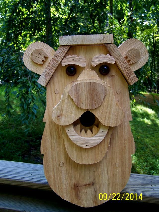 Cedar Wood Bear Bird House Dome Creations Crafts