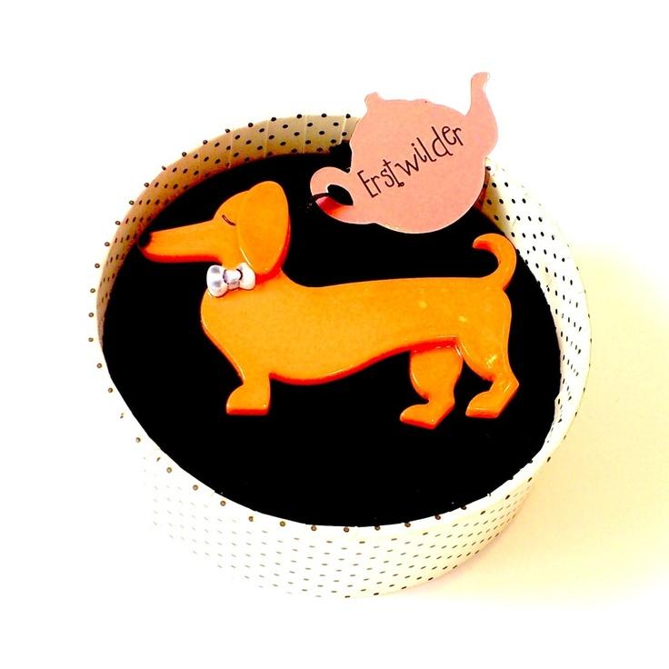 Spiffy the Sausage Dog Dachshund Brooch by Erstwilder