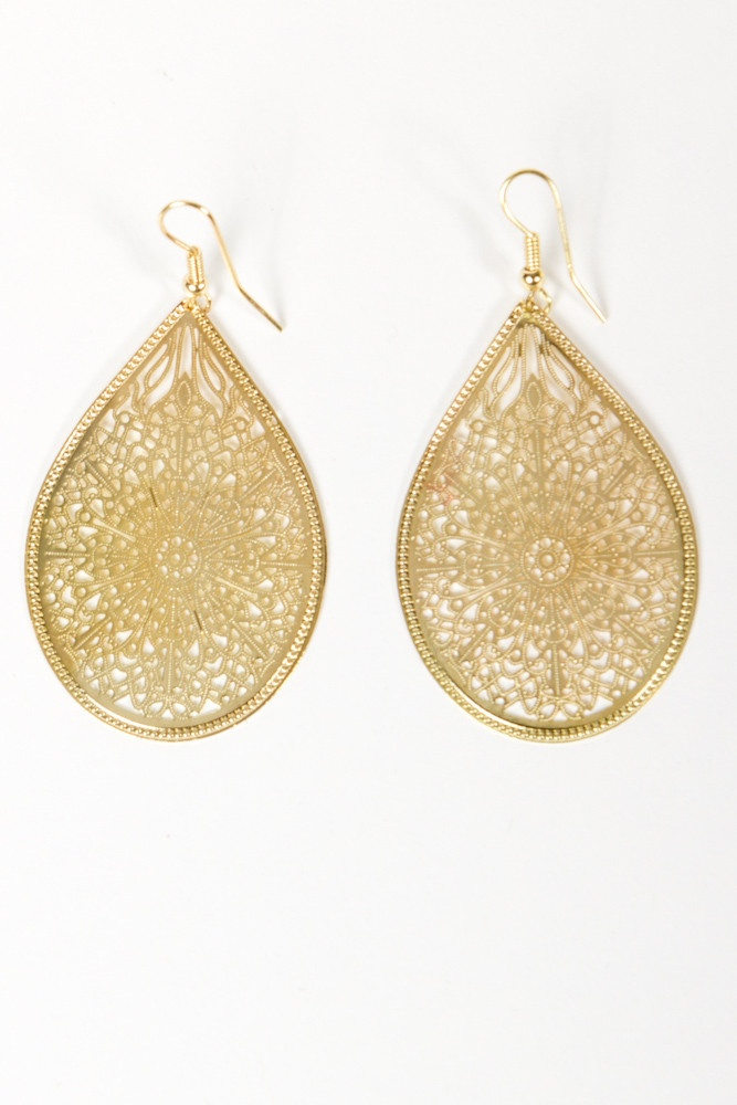 Intricate Tear Drop Earrings Gold