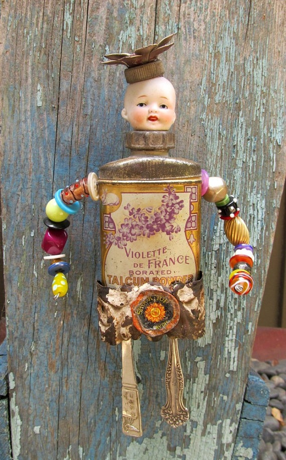 Assemblage Art Vintage Tin Doll / VIOLETTE by SalvageArtSweetheart145