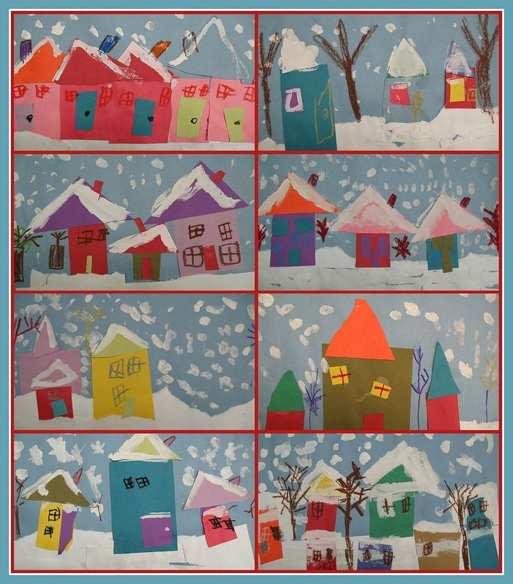 winter art - would be great for Kindergarten shape house lesson!