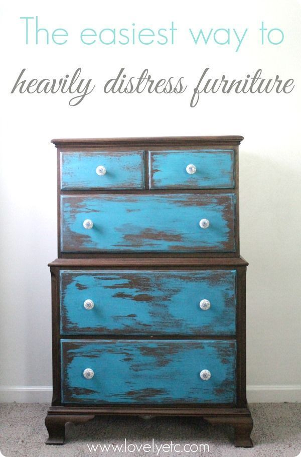 The easiest way to heavily distress furniture - this wet sanding technique is super simple and requires only a wet paper towel and a sanding sponge.