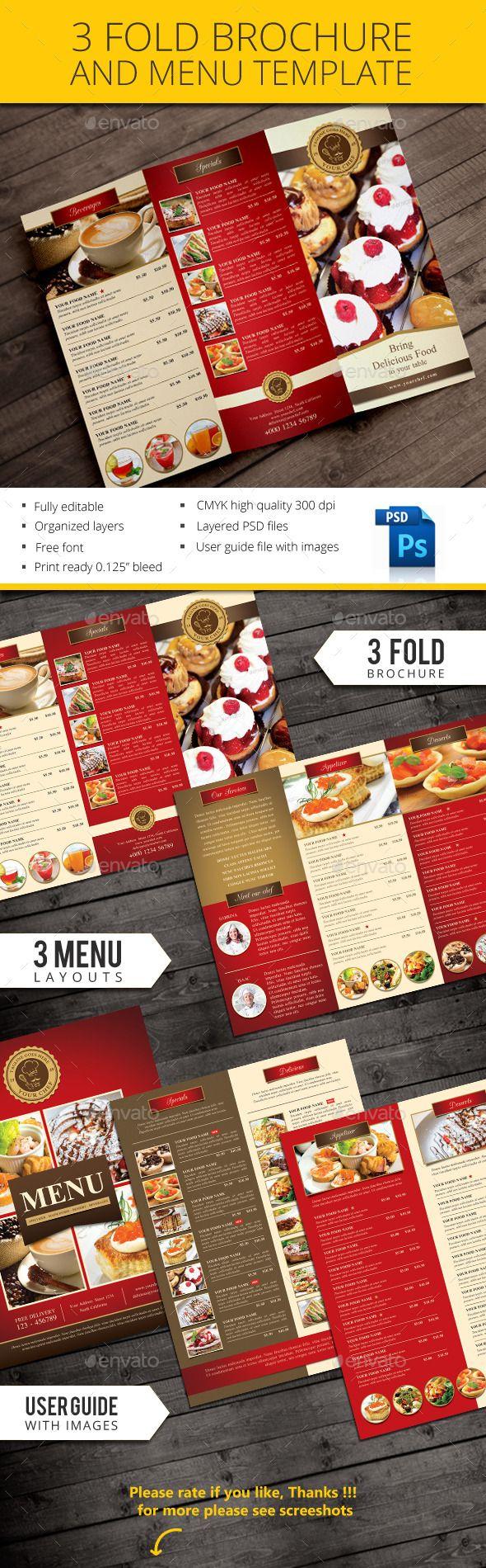 Trifold restaurant brochure and menu  —  PSD Template