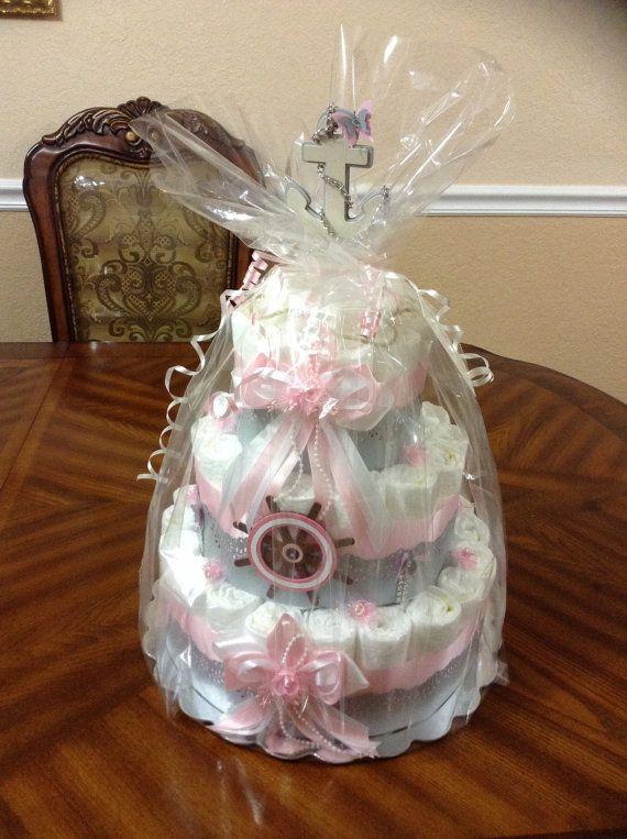 Elegant Diaper Cake Nautical/ Girl Diaper Cake Pink/ Baby