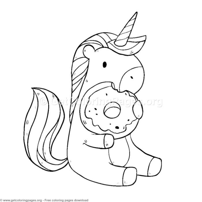 Cute Unicorn Eating Donuts Coloring Pages Free Instant Download