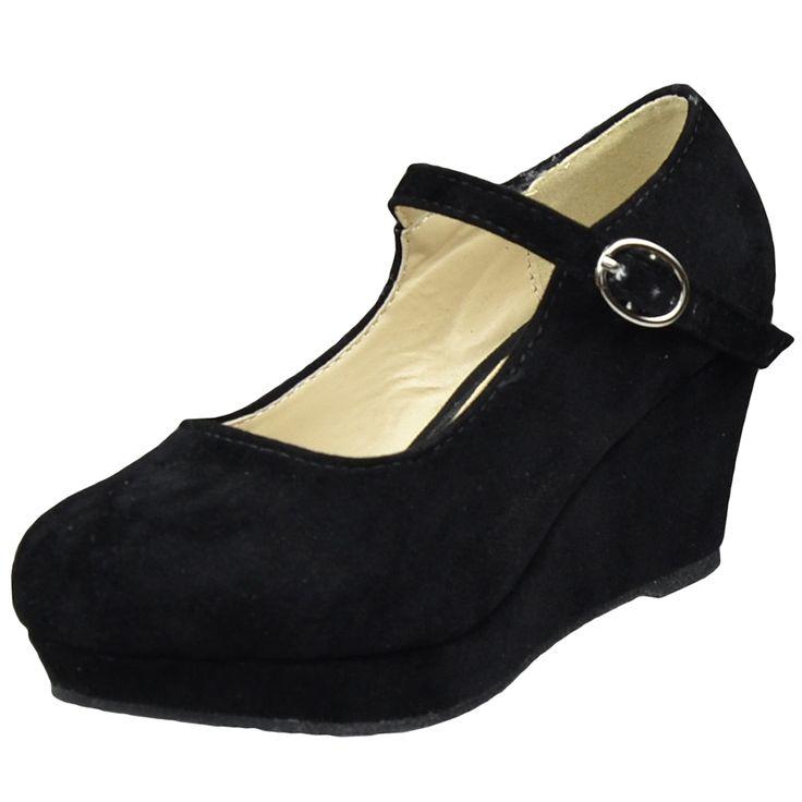 black boots for kids  girls size 1 | Kids Dress Shoes Ankle Strap Closed Toe Wedge Platform Pumps Black ...