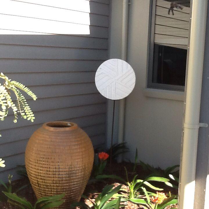 This a Powertex mixed media garden sculpture for my friends garden.