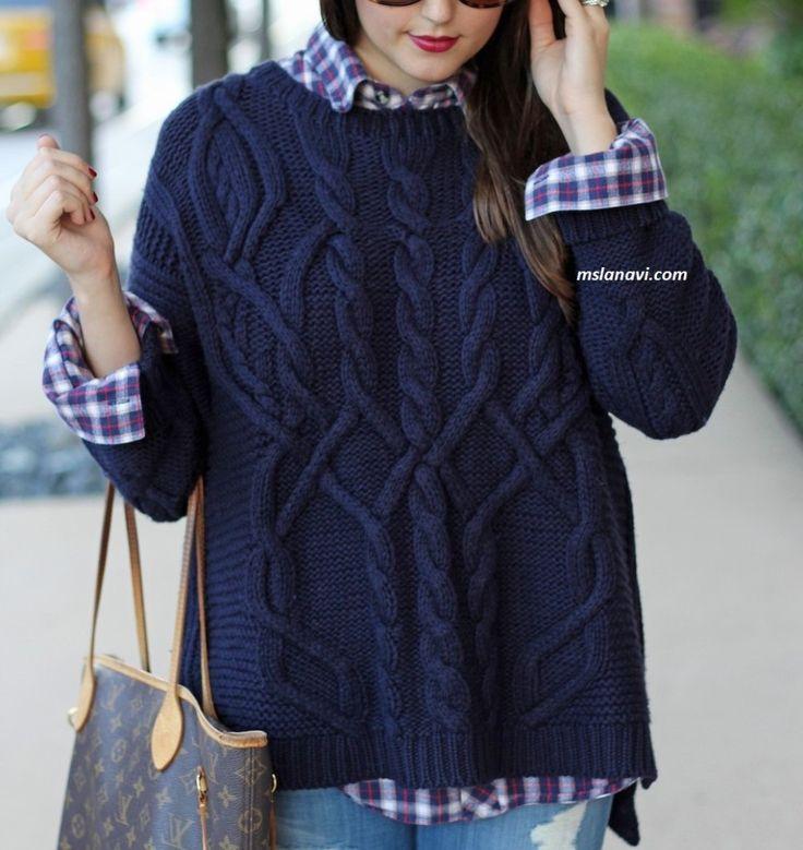 Вязаный свитер с красивыми аранами