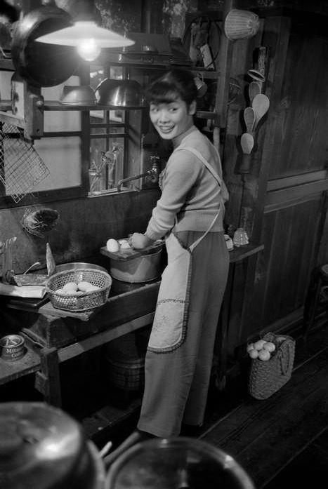 Japan, Tokyo. 20 year old Michiko Jinuma, a fashion student. 1951.