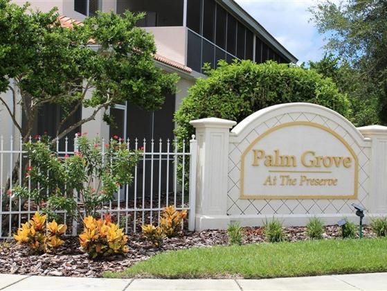 The gated community of Palm Grove is located in The Preserve at Tara.  This community has resort like curb appeal with lush tropical landscape as well as barrel tiled roofs and brick pavers throughout.  It is a pet friendly neighborhood. Within walking distance are the community clubhouse golf course lighted tennis courts and heated pools. There is no golf membership required to life in Palm Grove.