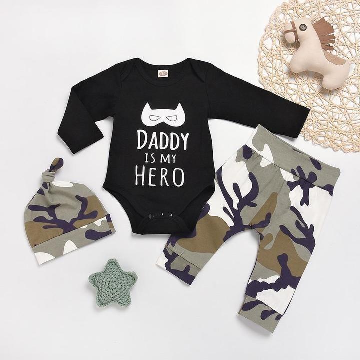 Baby Boys Long Sleeve Letters Print Bodysuit Bear Head Pant+Hat 3pcs Outfits Suit