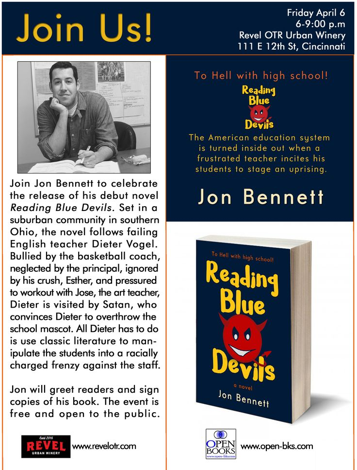 Join Jon Bennett to celebrate the release of his debut novel #ReadingBlueDevils at Revel OTR Urban Winery in #Cincinnati on Friday, April 6, 6-9:00 p.m. Jon will greet readers and sign copies of his book. The event is free and open to the public. #books
