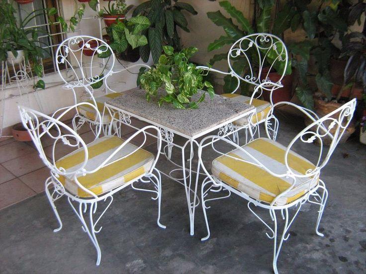 juego de jardin antiguo en hierro forjado 4 sillones y mesa