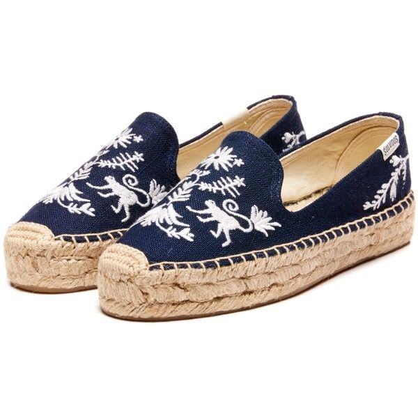 Soludos Embroidered Platform Espadrilles, Otomi Navy ($100) ❤ liked on Polyvore featuring shoes, sandals, navy sandals, platform shoes, espadrille sandals, platform espadrilles and navy blue shoes