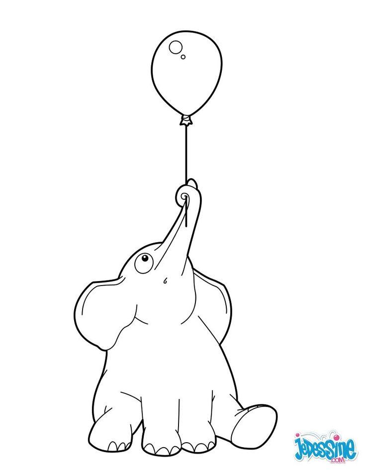 Coloriage d 39 un l phant mignon qui s 39 envole avec un ballon dessin parfait pour les jeunes - Dessin d un elephant ...